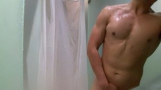 guy enters gym shower, but forgets his shower gel, so he uses his own cum the lather up!